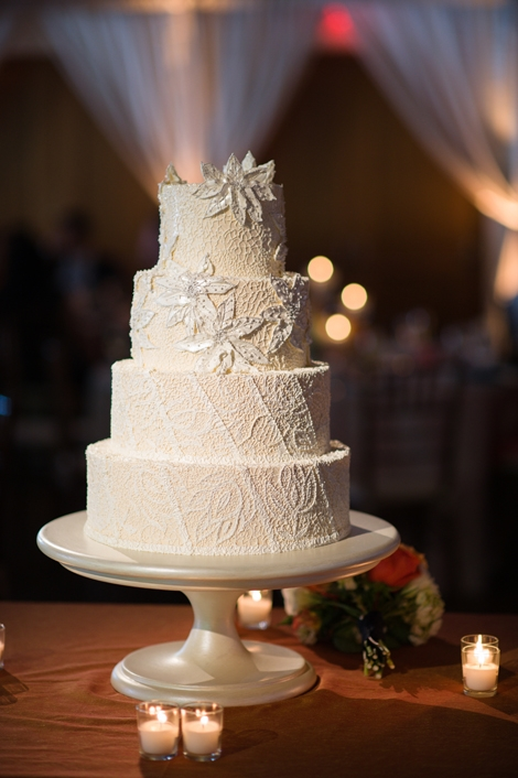 COPY CAKE: Jim Smeal replicated the intricate lace detail from the corset of Linda's gown onto the towering confection, which alternated between amaretto- and lemon-coconut-flavored cake tiers.