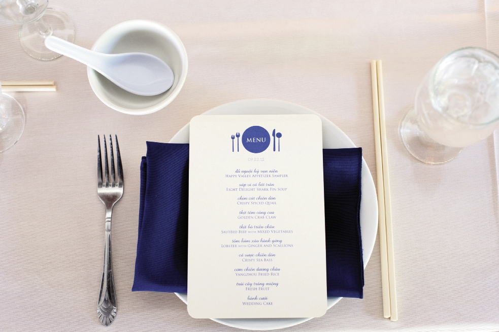 "A PERFECT 10: The navy-printed menu featured 10 courses from Georgia's Happy Valley Catering. ""Food is very important in Vietnamese celebrations,"" says Linda."
