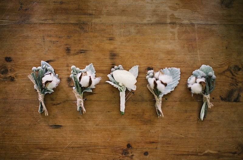 Boutonnieres by EM Creative Floral. Image by Ashley Seawell Photography.