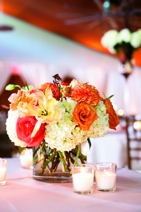 FLOWER POWER: Sara York Grimshaw Designs filled arrangements with hydrangeas, protea, tulips, dahlias, and orchids.