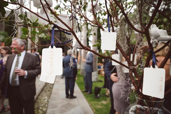 CREATIVE THINKING: Guest plucked their escort cards from the branches of Manzanita trees.