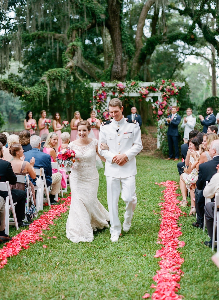 Bride's gown by Augusta Jones from Gown Boutique of Charleston. Florals by Engaging Events. Photograph by Marni Rothschild Pictures at the Legare Waring House.