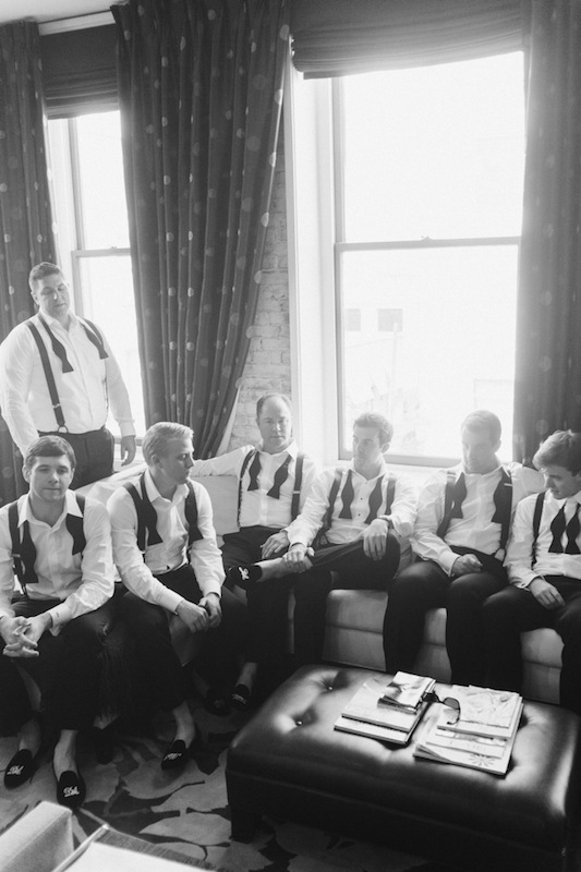 Groom and groomsmen attire by Ralph Lauren Black Label. Image by Corbin Gurkin at the Wentworth Mansion.