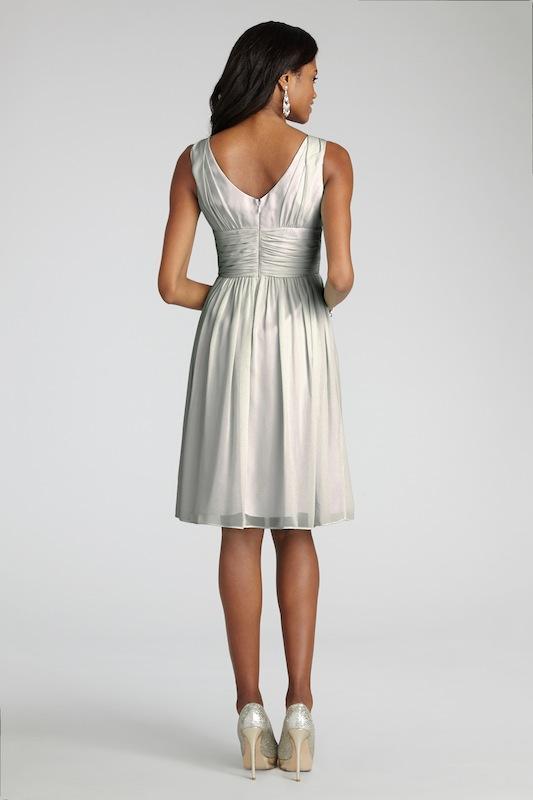 "Donna Morgan's ""Jessie"" in Dove. Available in Charleston through Bella Bridesmaids."