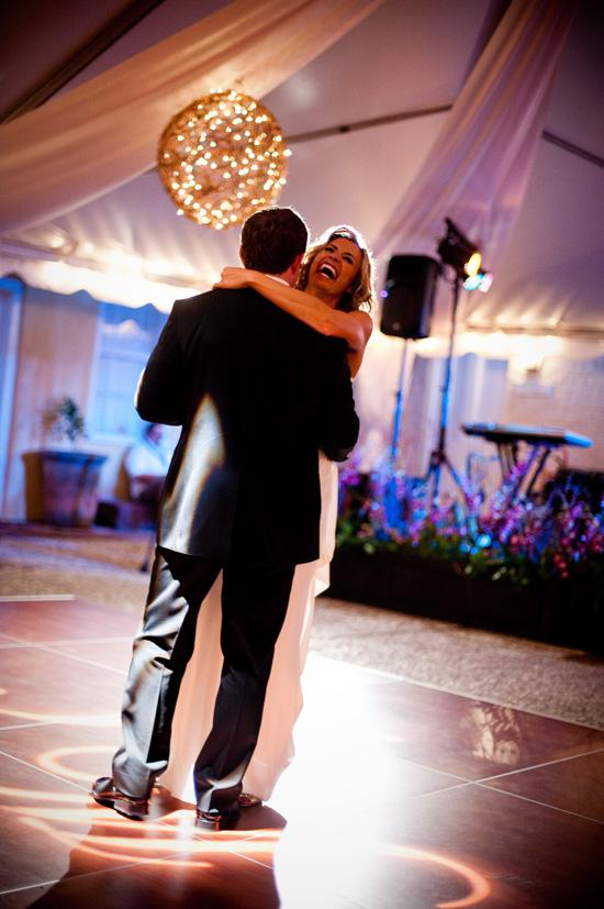 MONOGRAMMED MOMENT: Jennifer says that lighting details, like having her and Mike's initials spotlighted onto the dance floor, added to the romantic atmosphere of the night.