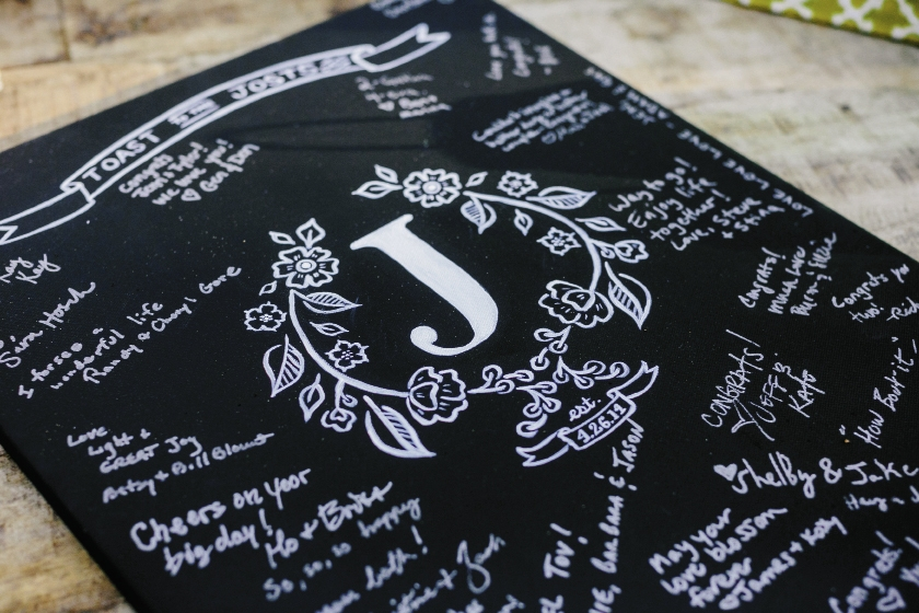 CHALK IT UP: Jennifer used a chalk pen to draw a decorative monogram on this sign-in keepsake they now hang at home.