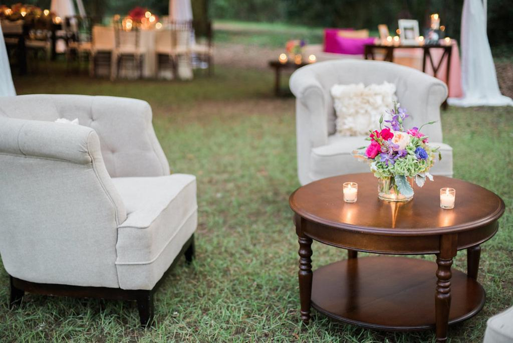 Lounge furniture from Engaging Events. Photograph by Marni Rothschild Pictures at the Legare Waring House.