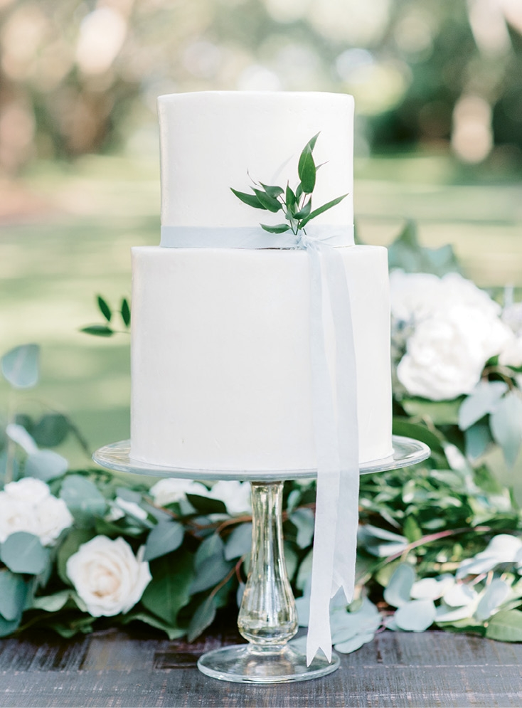 A white buttercream cake punctuated with greens and a simple silk ribbon tied into the thoughtful design. (Photo by Aaron & Jillian Photography)