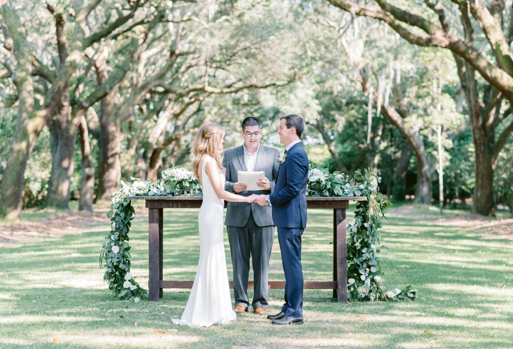 The couple exchanged vows with a simple ceremony made for two. The planner's husband officiated.  (Photo by Aaron & Jillian Photography)