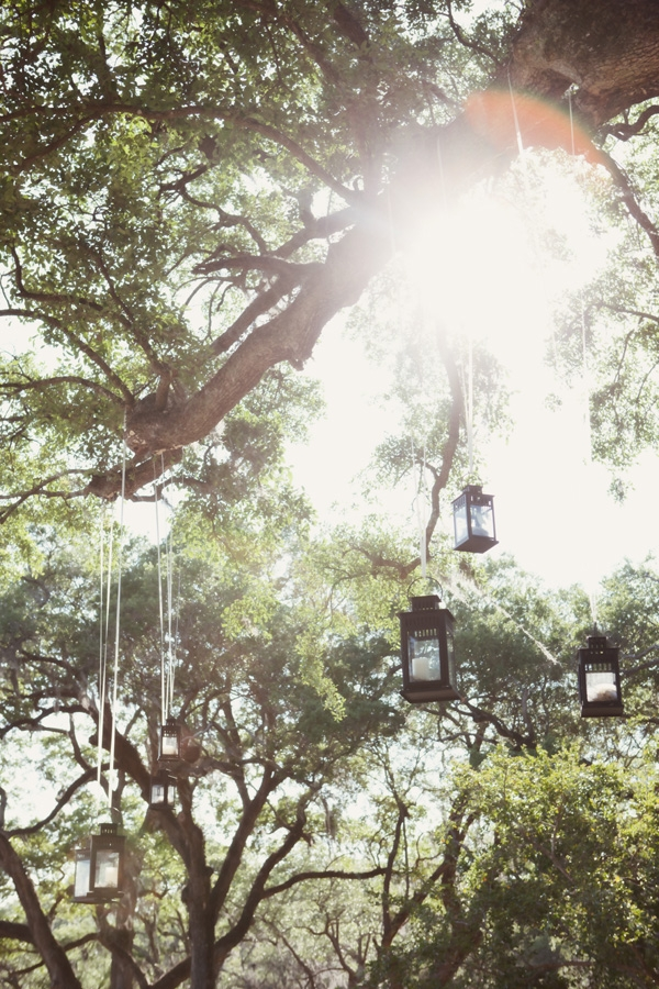 TREE LIGHT: A nice touch for a couple who loves camping, lanterns strung from the tree branches and gave off a shimmering light once the sun set.
