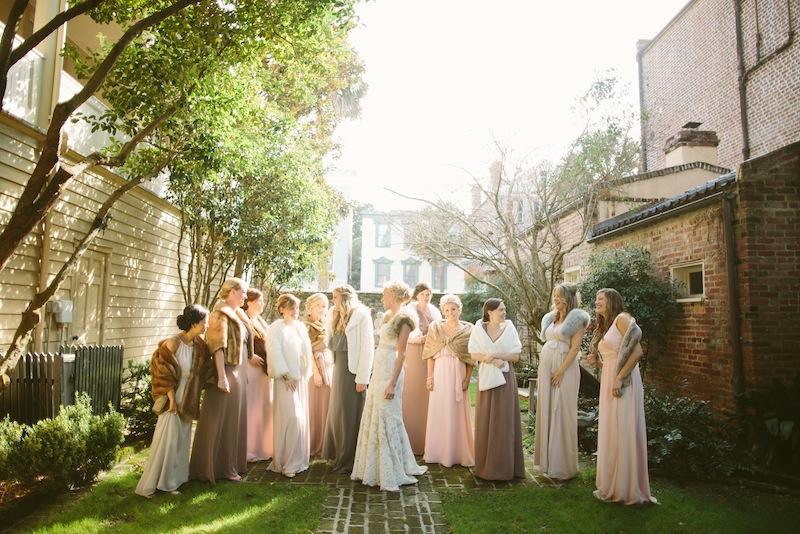 Bridal gown by Anne Barge from Fabulous Frocks. Bridesmaid dresses by Joanna August from Bella Bridesmaids. Image by Juliet Elizabeth Photography at the Confederate Home and College.