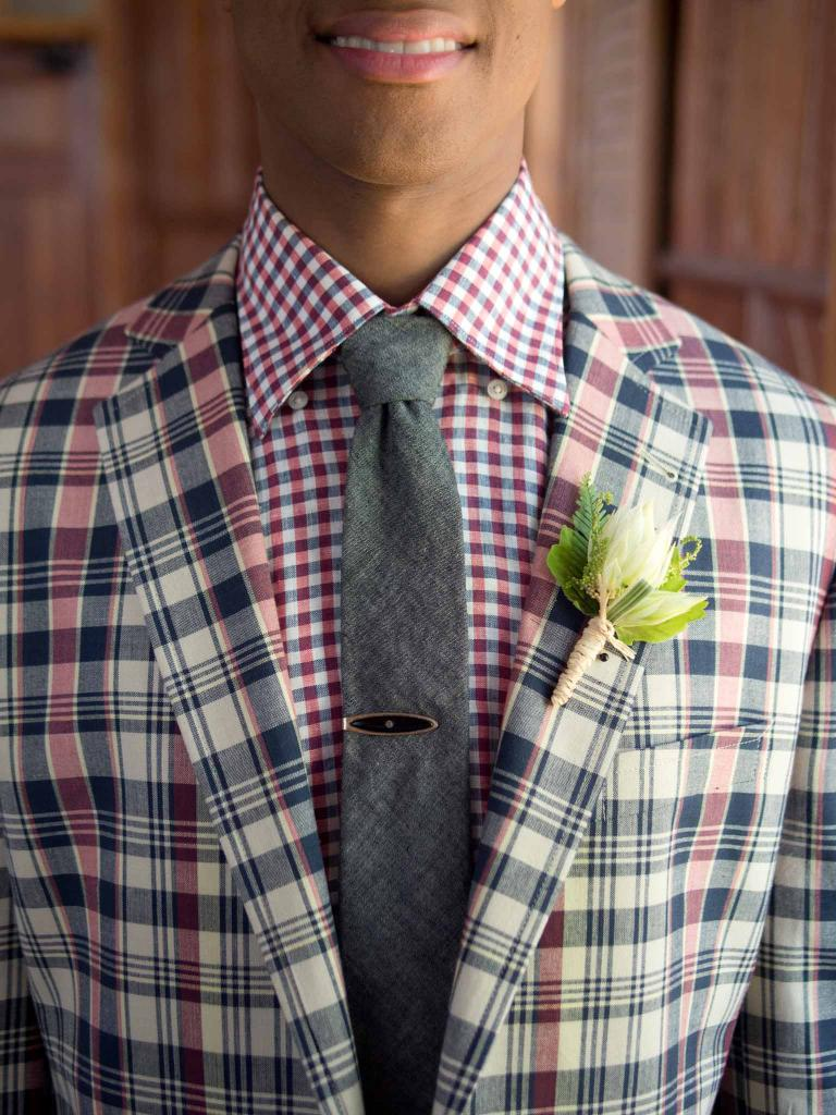 MAD FOR PLAID: Fitzgerald-fit madras sports coat from Brooks  Brothers. Canali's plaid oxford from Gwynn's of Mt. Pleasant. The Hill-side's tie from Indigo and Cotton.Vintage tie clip from Billy Reid. Boutonniere from Ooh! Events.