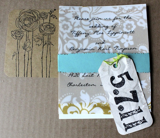 WORK OF ART(IST): Tiffany used her talents to handcraft the bold, bright invitation suite.