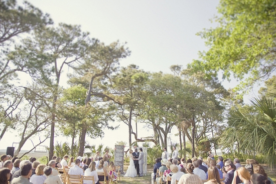 WHAT A VIEW: Tiffany and Benjamin's ceremony and reception overlooked the Folly River, held behind the Viewpoints house on Folly Beach.