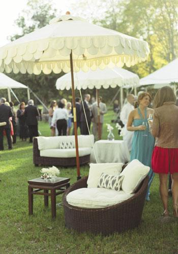 Lounge Lover: Guests mingled in umbrella-covered conversation areas, set off by ikat pillows.