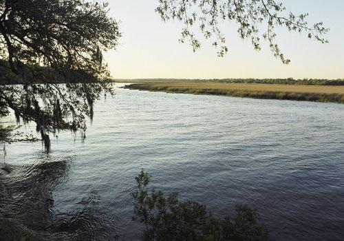 Waterfront Property:The Ashley River flowed steps away from the reception.