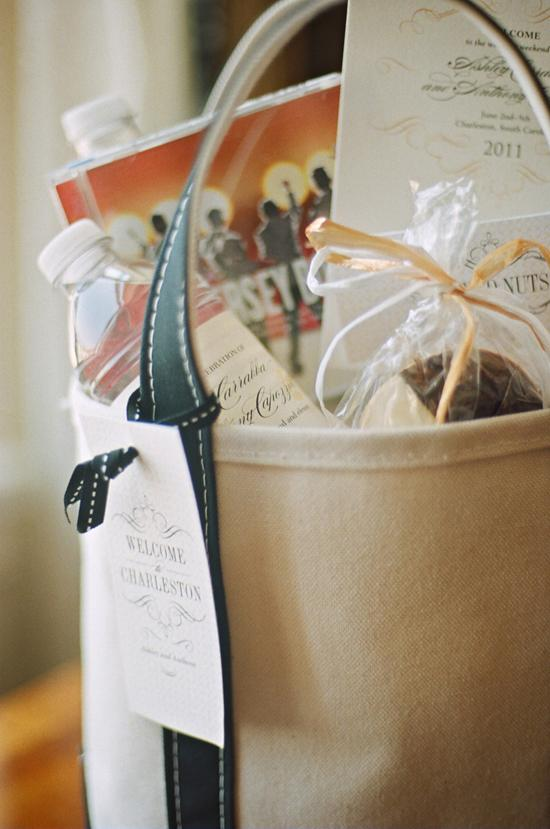 IT'S IN THE BAG: On arriving to Charleston, the couple's 125 guests were greeted with a canvas of goodies including a CD of the Jersey Boys soundtrack, two personalized water bottles, sweets, and paper pretties from the Lettered Olive.