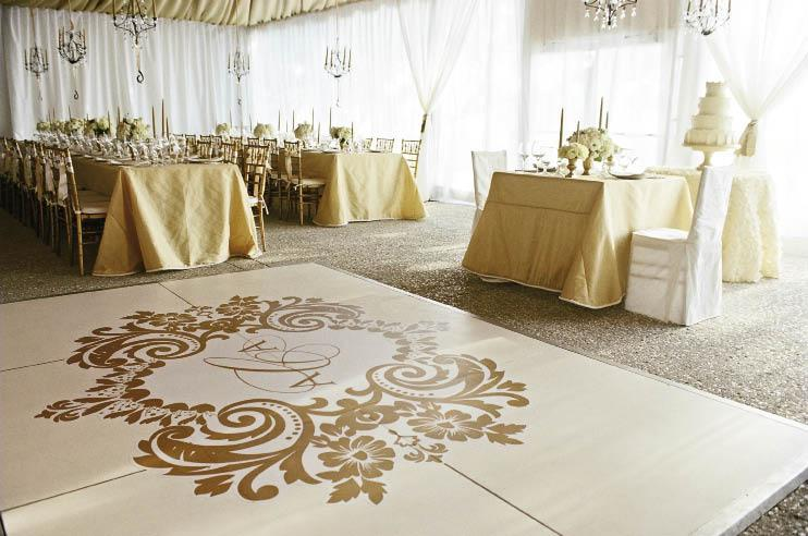 INITIAL REACTIONS: A sweetheart table for the bride and groom cozied up next to the monogrammed dance floor.