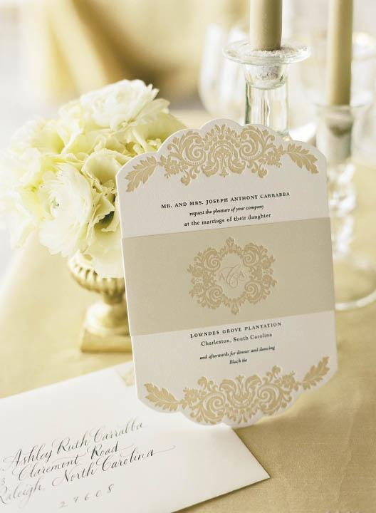 THE RIGHT INVITE: With its color scheme, calligraphy, and intricate detail, the invitation suite, crafted by The Lettered Olive, matched the feel of the formal fête.