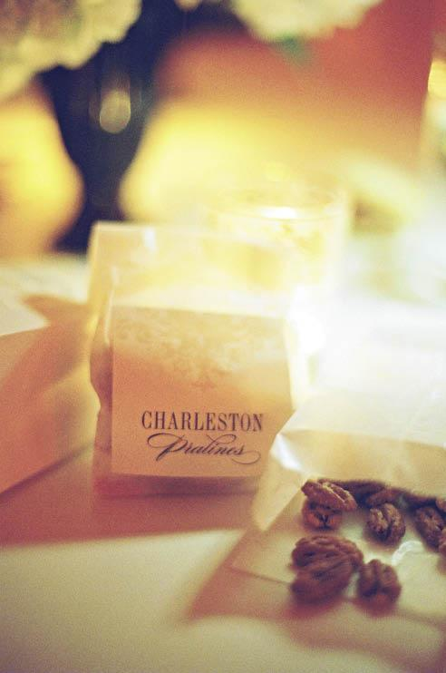 SWEET TREAT: On their first trip to Charleston, the couple stayed at the Charleston Place Hotel, took a carriage ride, and ate pralines. They commemorated the latter in their favors for guests.