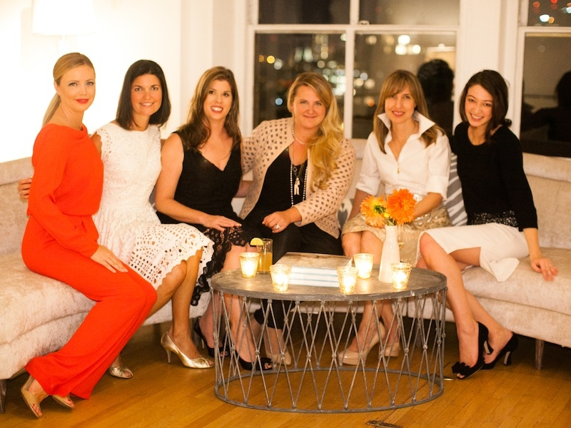 Heather Hall (far right), public relations director for Amsale, gets the scoop on Charleston Fashion Week and the Charleston Weddings Spring Bridal Show, where Amsale will star as the 2015 featured designer.