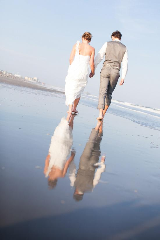STEP BY STEP: The couple walk Folly Beach every night with their dogs; it's such a fixture, Josh proposed there.