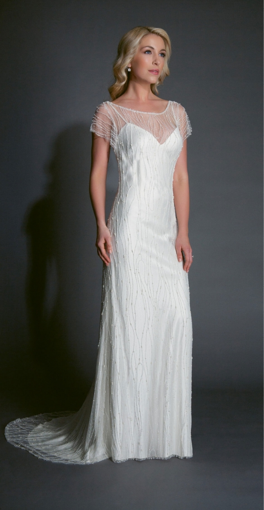 "{Timeless Trend} Beaded Sheath; gown: ""Halston;"" Modern Trousseau flagship stores in Charleston,  Savannah, and Nashville"