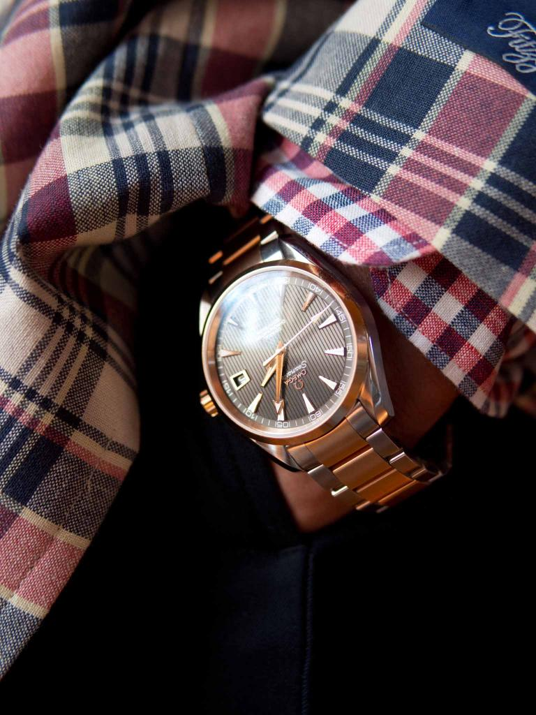 TIME OF YOUR LIFE: OMEGA's Seamaster Aqua Terra watch in 18K rose gold and stainless steel from Kiawah Fine Jewelry.
