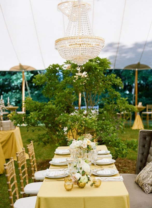 Décor and design by Southern Protocol. Florals by Stems. Place settings and crystal from Polished. Rentals from EventHaus and 428 Main Vintage Rentals. Lighting by AV Connections. Tent by Sperry Tents Southeast. Photograph by Marni Rothschild Pictures.