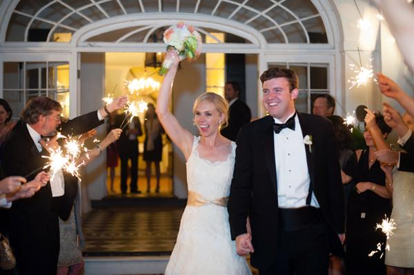 A FLAMING FAREWELL: The newlyweds, who honeymooned in Zambia and South Africa, exited amid a sea of sparklers.