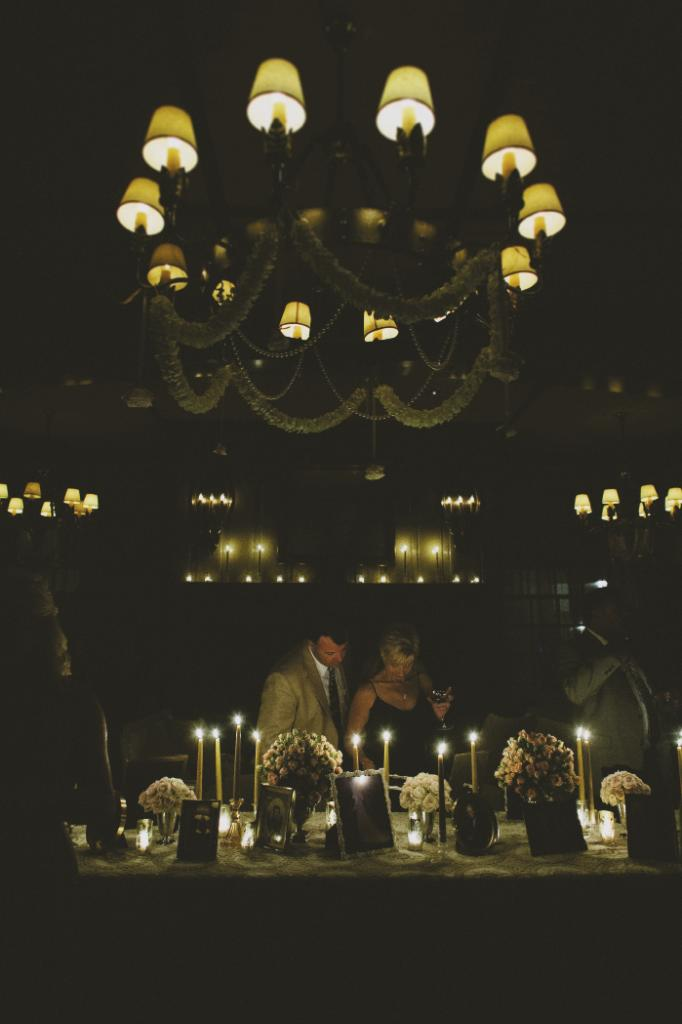 DINNER BY CANDLELIGHT: After the sun went down, guests tucked into crab cakes, filet mignon, swordfish, and more before migrating to a gathering room where family photos, candlelight, and Michael Jackson tribute band Who's Bad waited.