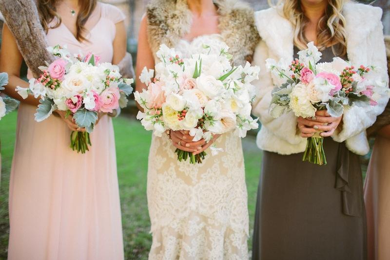 Bouquets by Branch Design Studio. Bridal gown by Anne Barge from Fabulous Frocks. Bridesmaid dresses by Joanna August from Bella Bridesmaids. Image by Juliet Elizabeth Photography.