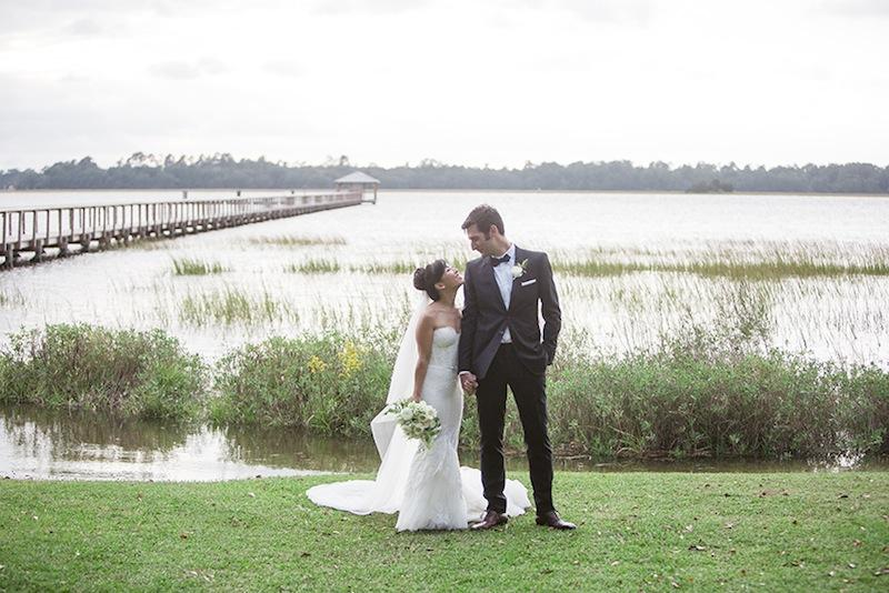 Alice and Forrest traded self-penned vows in front of some 88 family and friends (eight is a lucky number in Chinese culture) at the edge of the Ashley River.