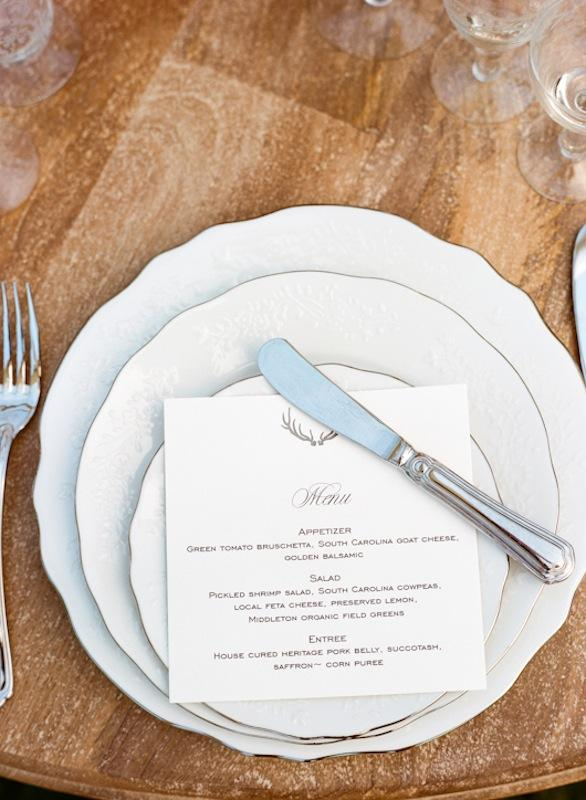 Place settings and crystal from Polished. Menu by Ancesserie. Photograph by Marni Rothschild Pictures.