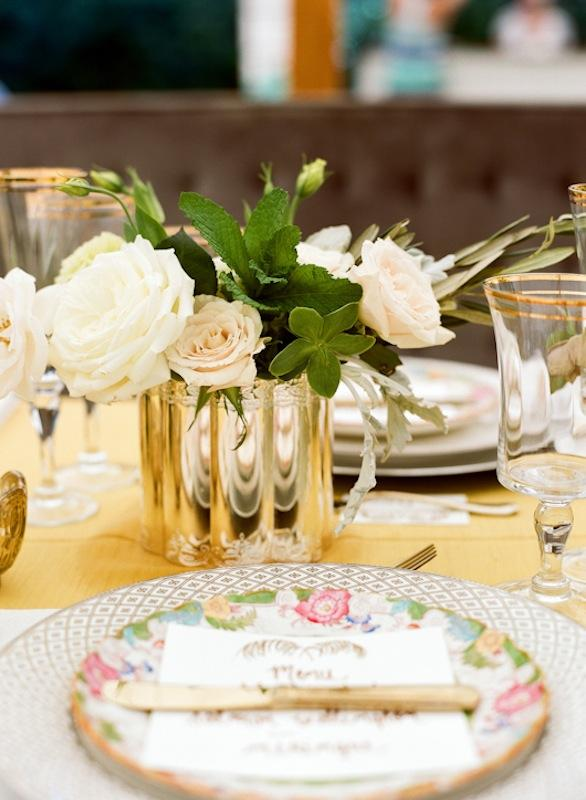 Tabletop by Southern Protocol. Florals by Stems. Place settings and crystal from Polished. Place card by Ancesserie. Photograph by Marni Rothschild Pictures.