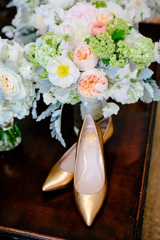 Shoes by Vince Camuto. Florals by Branch Design Studio. Image by Dana Cubbage Weddings.