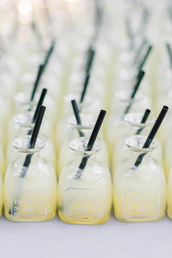 """Baby Bottles - """"Taste of Texas"""" margaritas in Patròn bottles served as a nod to the couple's digs in Dallas."""