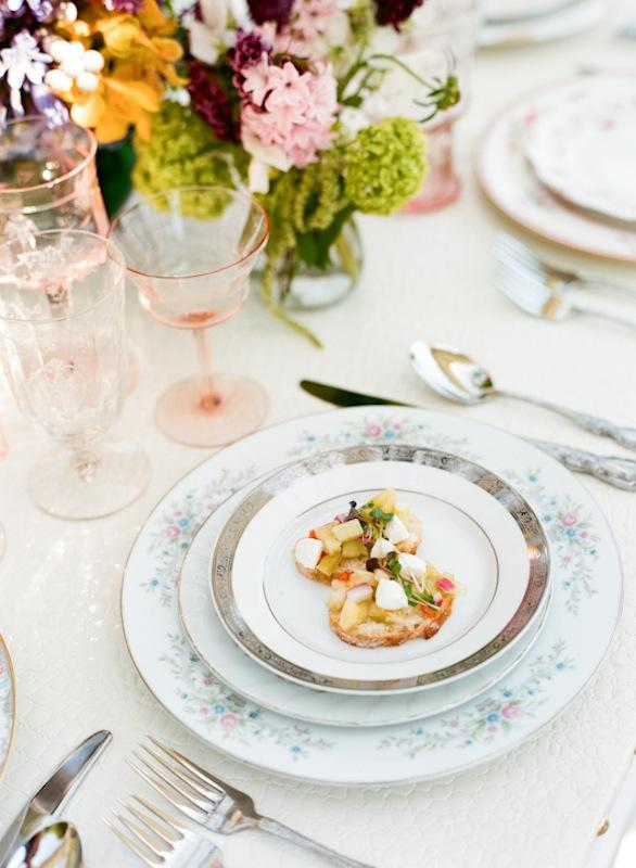 Florals by Out of the Garden. Place setting and crystal from Polished. Photograph by Marni Rothschild Pictures.
