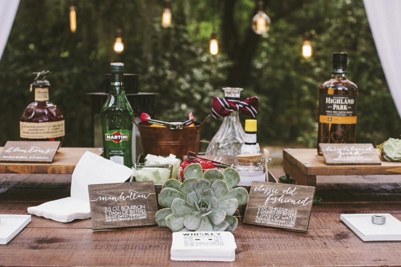 Wedding design and signage by Paper and Pine Co. Bar service by Café Catering. Photograph by Juliet Elizabeth.
