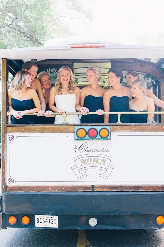 Bridal gown by Vera Wang, available in Charleston through Maddison Row. Bridesmaid's dresses by Monique Lhuillier, available in Charleston through Bella Bridesmaids. Transportation by Absolutely Charleston. Image by Corbin Gurkin.