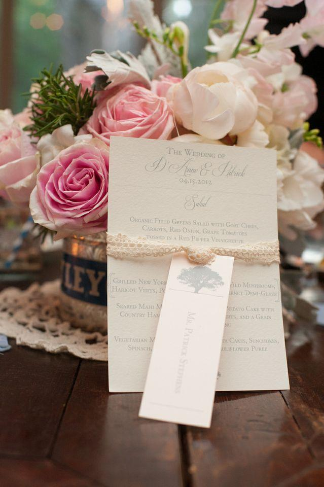 SOFT-SPOKEN: Dodeline design fashioned neutral-toned menus and escort cards with doily lace ribbon.