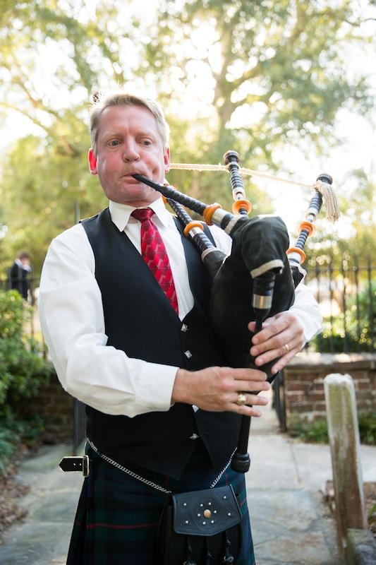 Ceremony music by The Carolina Bagpiper. Image by Marni Rothschild Pictures at Second Presbyterian Church of Charleston.
