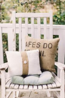 SEW NICE: Allison sewed pillows from burlap coffee-bean bags to soften the rustic furniture.