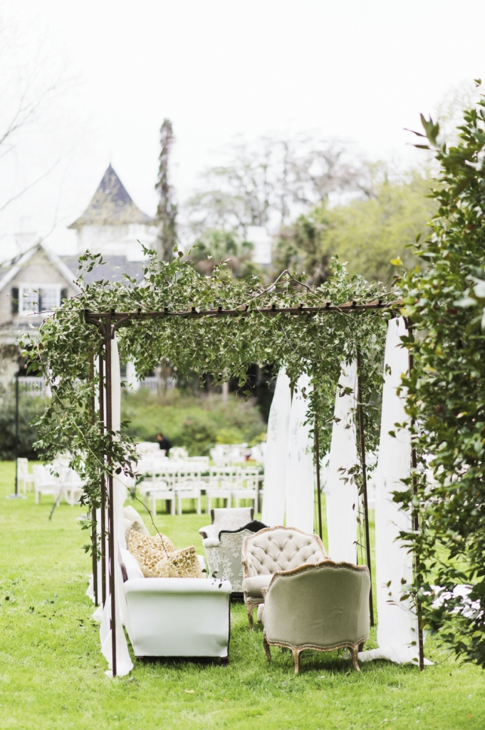 Wedding design and rentals by Ooh! Events. Greens by Out of the Garden. Image by Clay Austin Photography at Magnolia Plantation & Gardens.