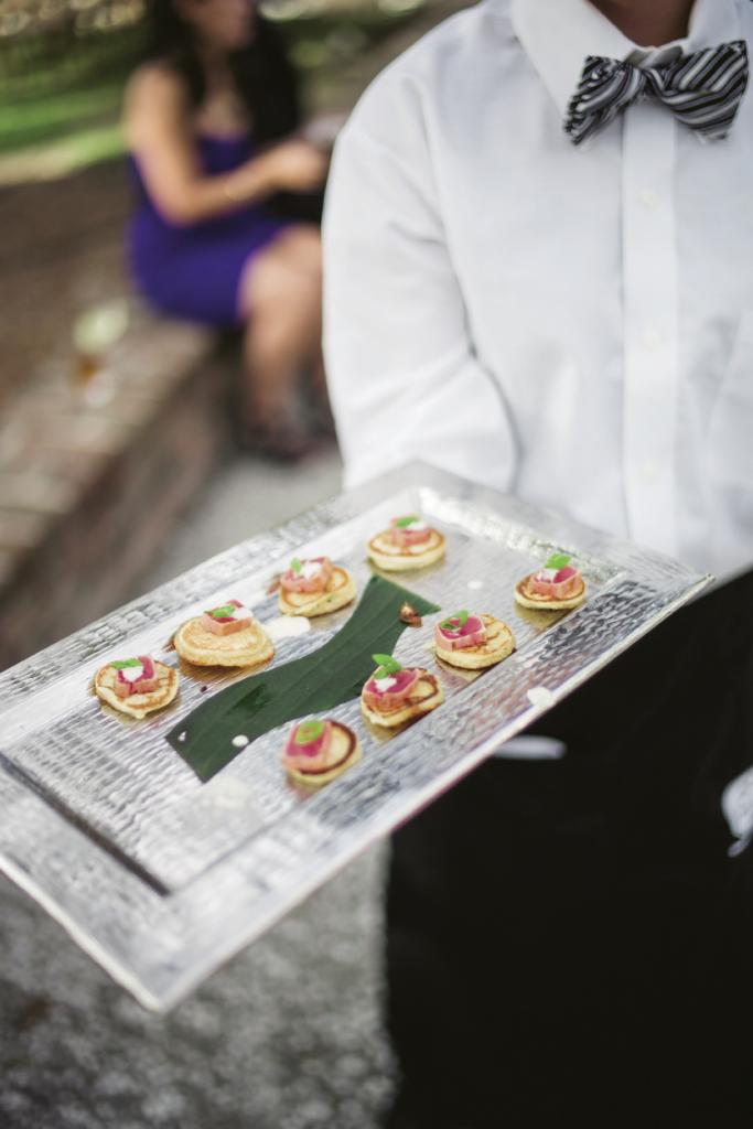 Fish Restaurant specializes in dishes with an Asian accent, so the couple's wish for a Southern menu with Asian flair was a welcome request. Seared-tuna blinis were served during cocktail hour.