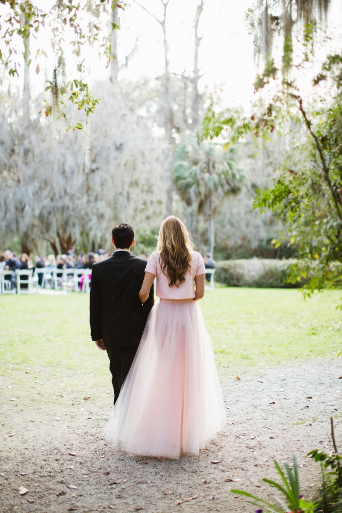 Custom-made bridesmaid ensemble. Menswear by Dolce & Gabbana. Image by Clay Austin Photography at Magnolia Plantation & Gardens.