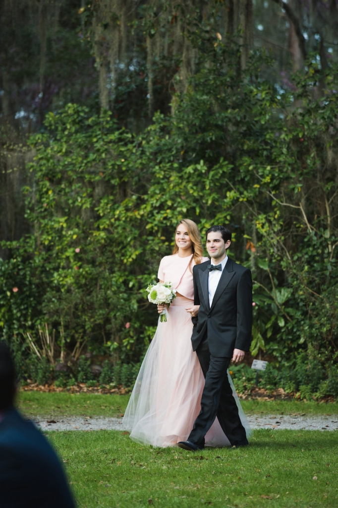 Custom-made bridesmaid ensemble. Menswear by Dolce & Gabbana. Bouquet by Out of the Garden. Image by Clay Austin Photography at Magnolia Plantation & Gardens.