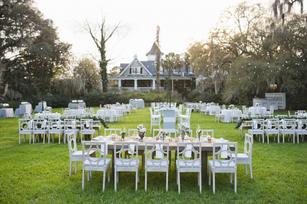 Wedding design and furniture by Ooh! Events. Florals by Out of the Garden. Image by Clay Austin Photography at Magnolia Plantation & Gardens.