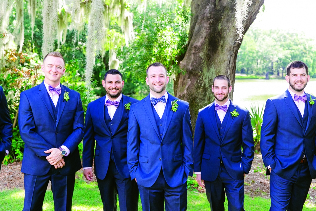 Though the groomsmen wore navy, Matt donned a slightly lighter hue along with his own uniquely patterned bow tie.