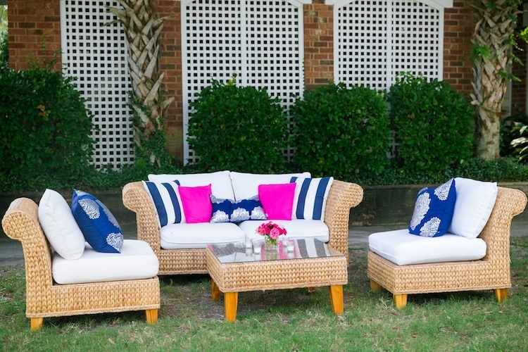 Lounge area rentals through EventWorks. Wedding design by Haley Kelly of A Charleston Bride. Image by Dana Cubbage Weddings.